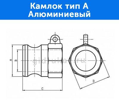 Камлок тип A - алюминиевый, схема