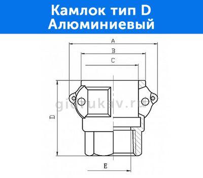 Камлок тип D - алюминиевый, схема