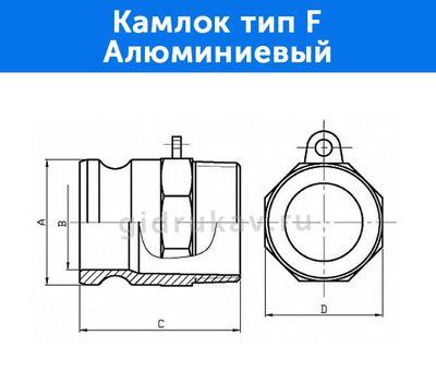 Камлок тип F - алюминиевый, схема